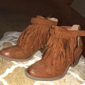 Shoes - Brown Fringe Boots